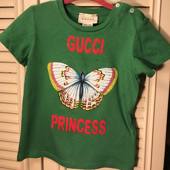 609fe90b Gucci Shirts & Tops | Babygirl Green Butterfly Toponly Worn Once ...